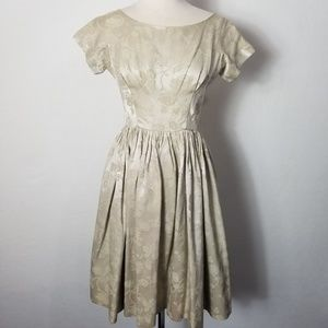 1950s Unlabeled Silk? Floral Embossed Fit & Flare